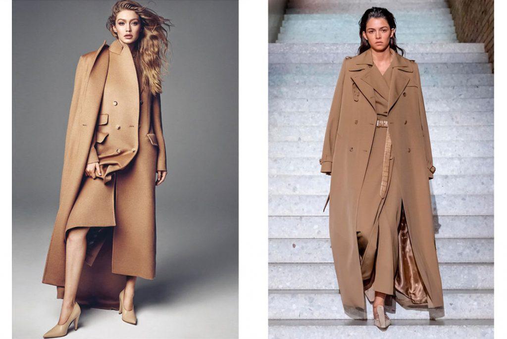 Palton camel structurat cu buzunare clapa si palton lung cu revere crestate si epoleti ambele Max Mara