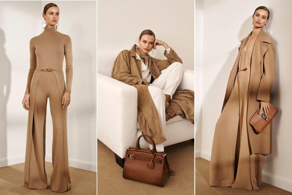 Salopeta eleganta cu croi evazat, jacheta din piele intoarsa si palton camel cambrat de la Ralph Lauren