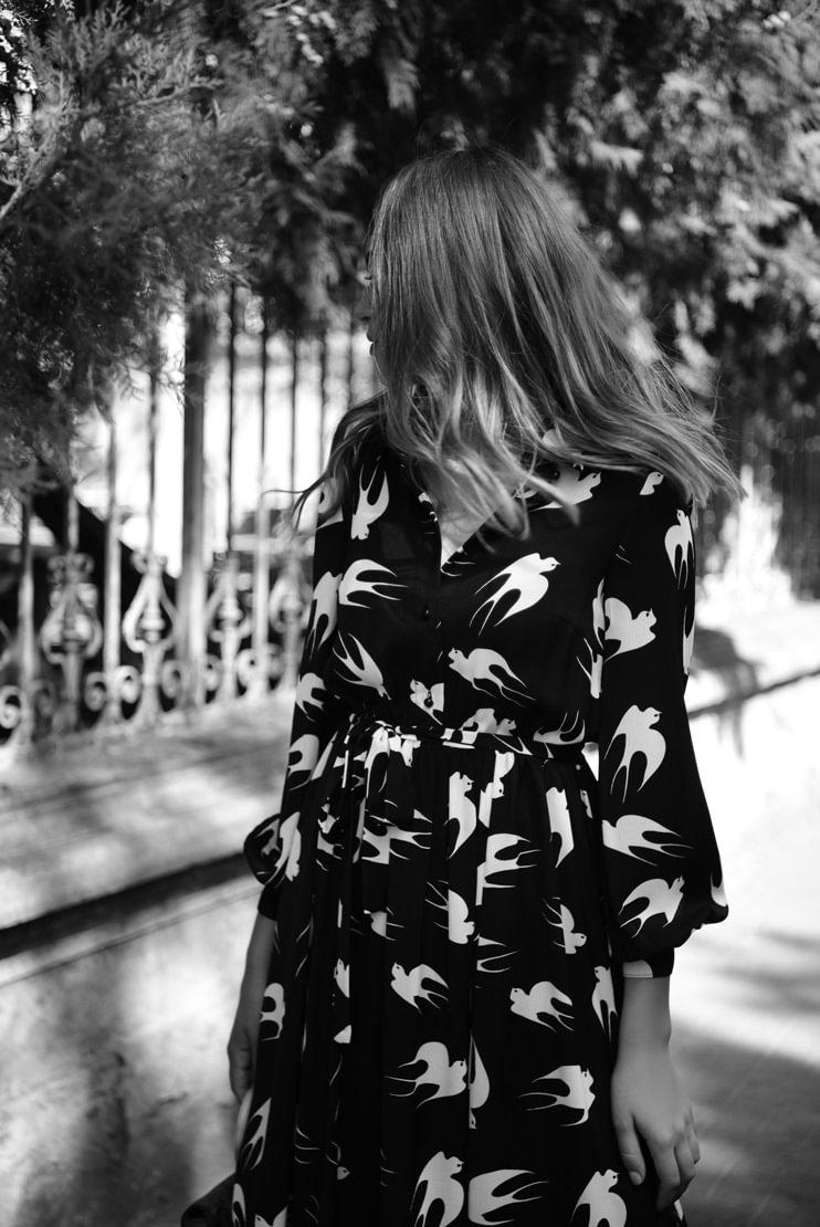 Rochie de zi cu print pasari