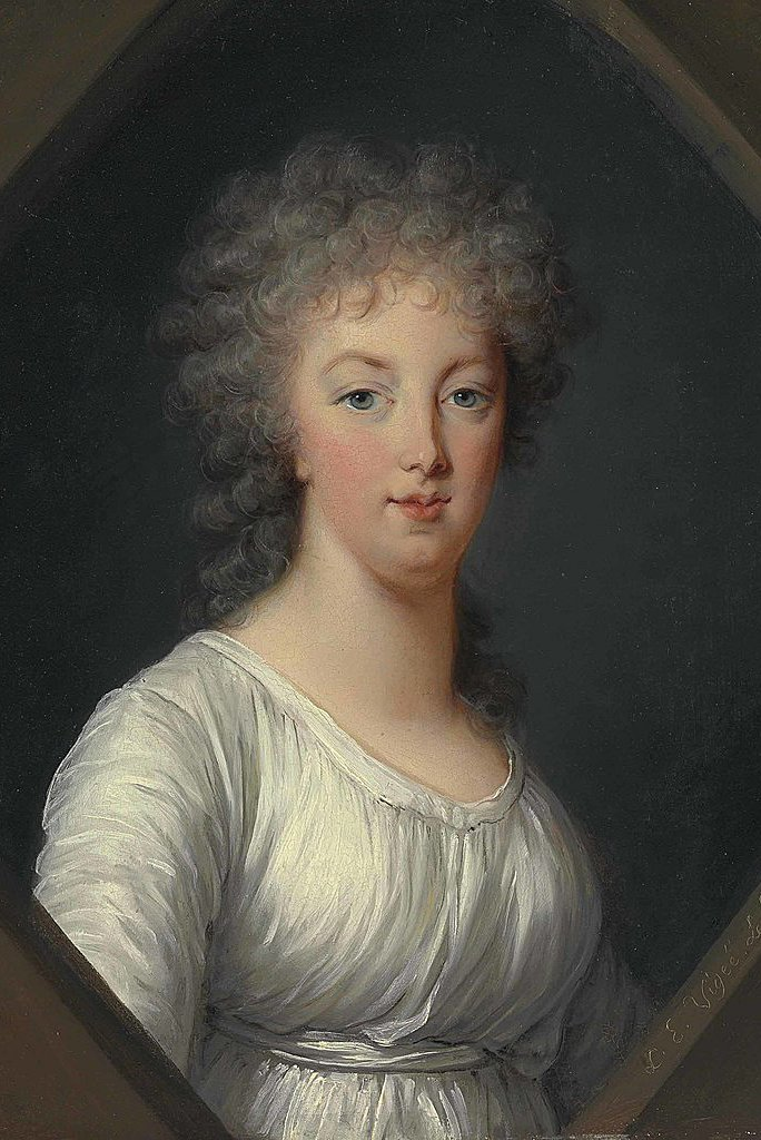Marie Antoinette pictata purtand rochia-camasa