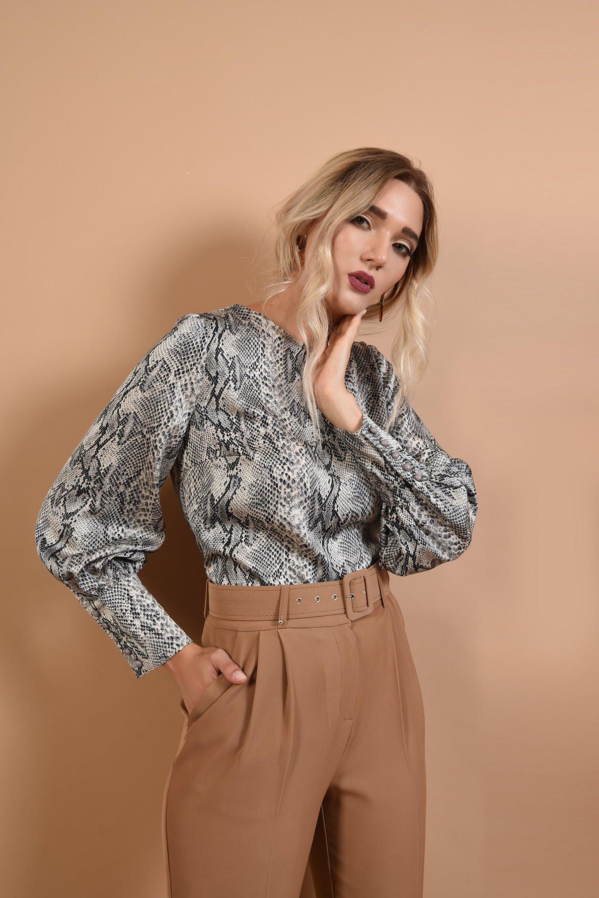 Pantaloni office cu centura si bluza cu imprimeu Pre-Fall