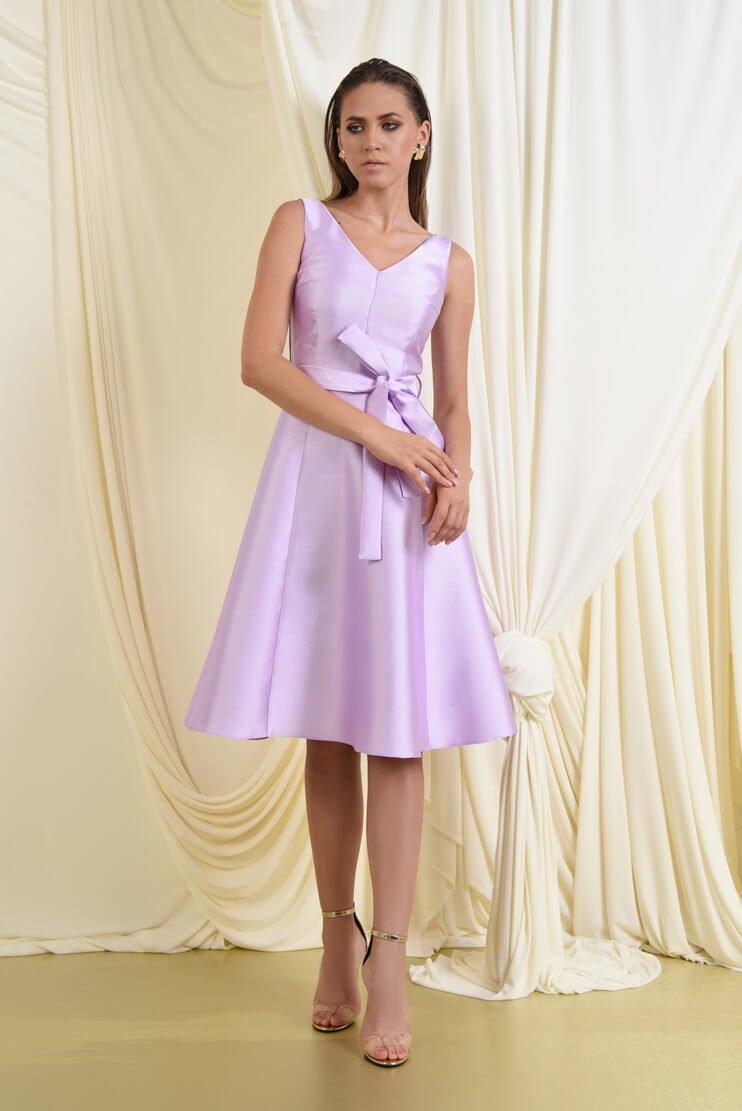 Rochie midi evazata din tafta lila