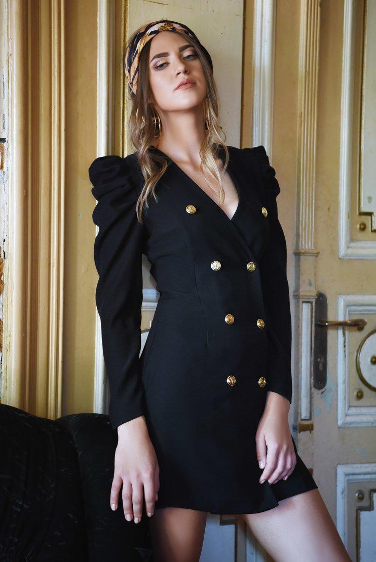 Rochie neagra cu nasturi aurii si maneci muton