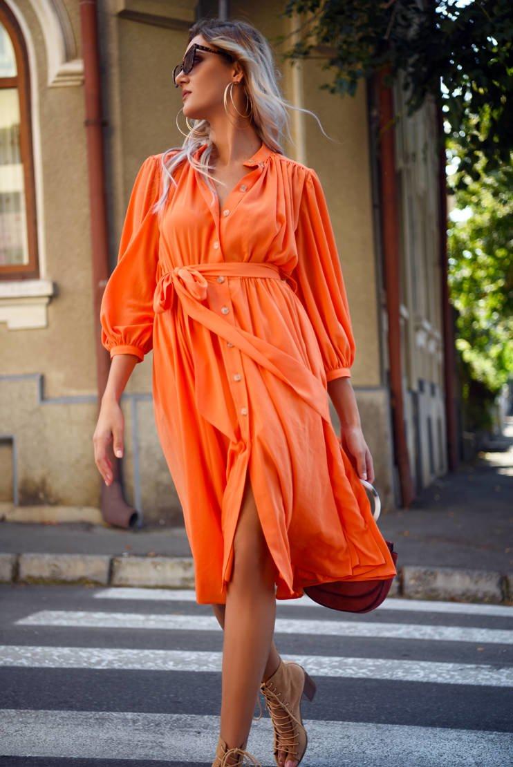 Rochie orange stil halat