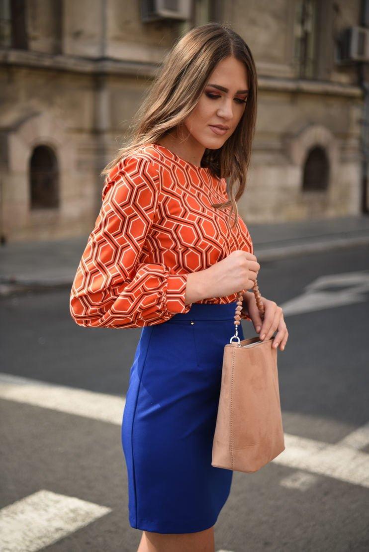 Bluza casual cupru cu print geometric