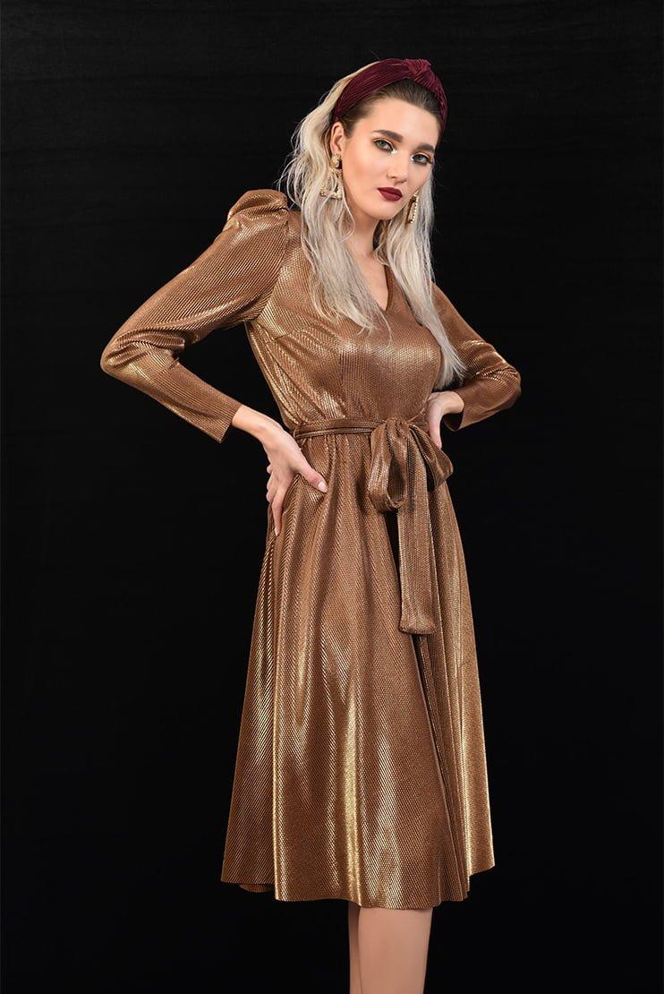 Rochie din lurex cupru cu cordon