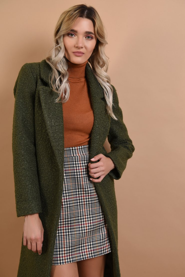 Palton kaki si maleta tricotata bronz