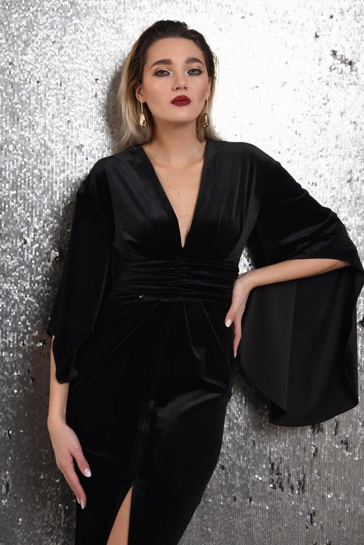 Rochie eleganta din catifea cu maneci oversize