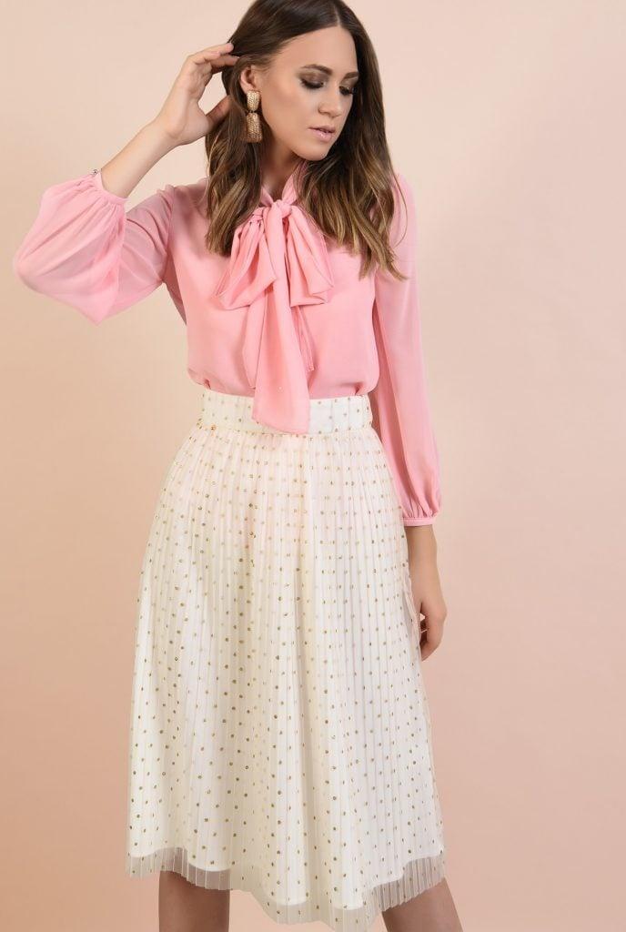 Bluza cu funda si fusta midi eleganta