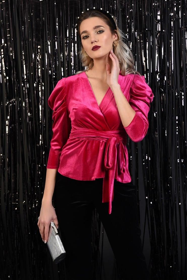 Bluza eleganta din catifea cu maneci drapate