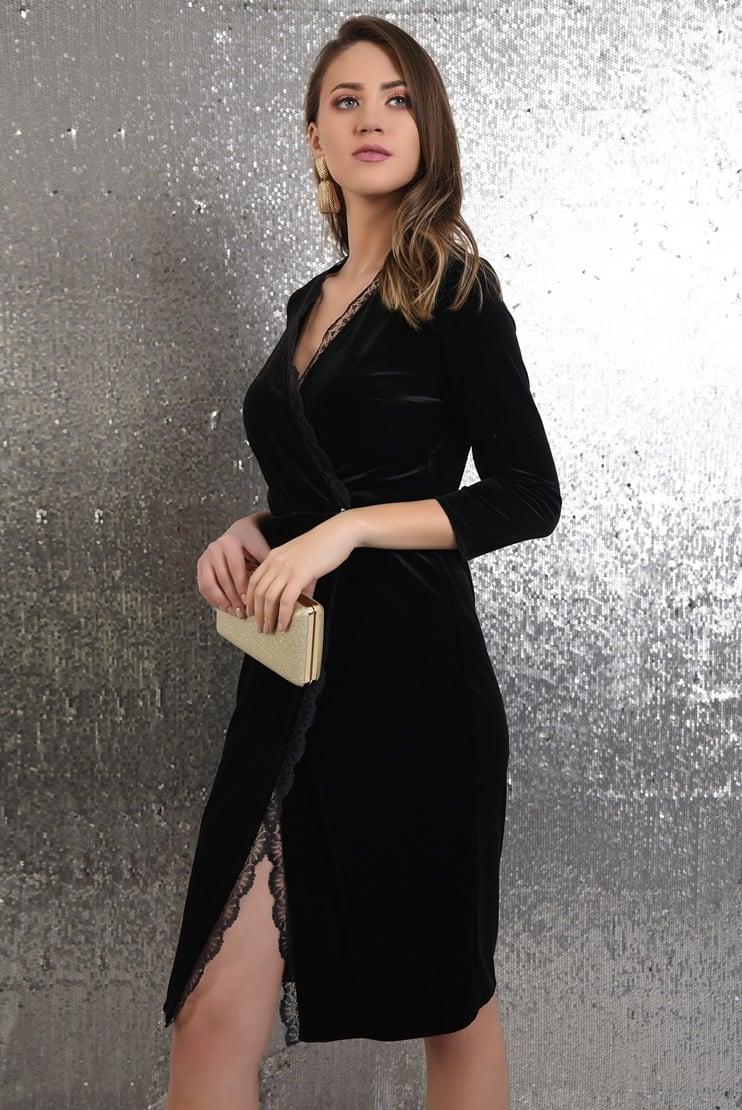 Rochie de seara din velur cu bordura din dantela