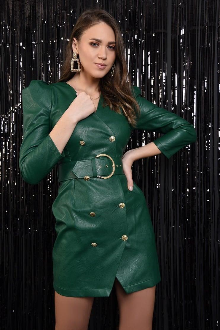 Rochie blazer cu nasturi monograma aurii