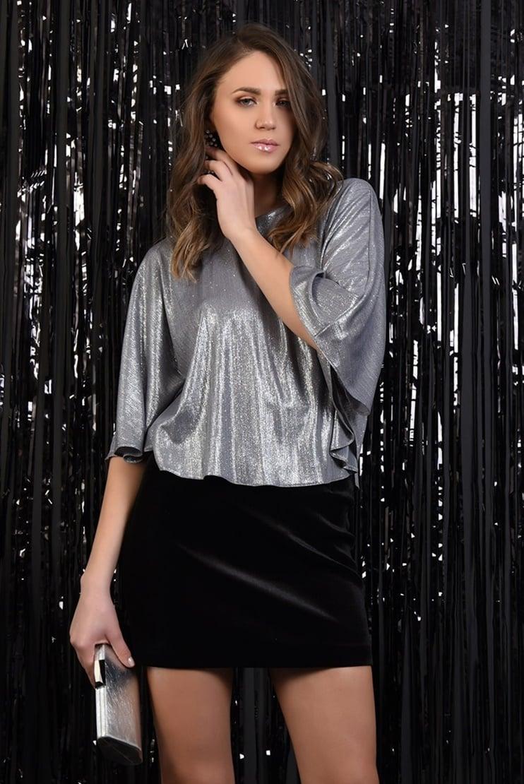 Bluza eleganta cu glitter si decupaj la spate