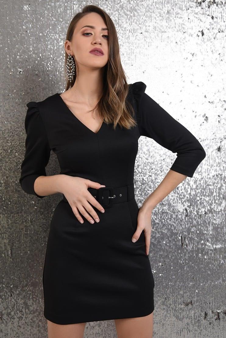 Rochie neagra eleganta cu centura