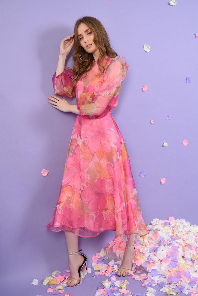 Rochie din organza cu imprimeu floral