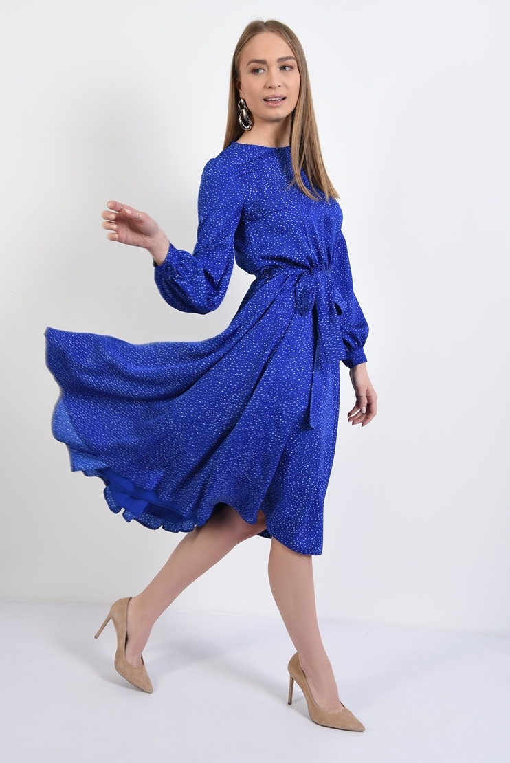 Rochie clos albastra cu buline albe