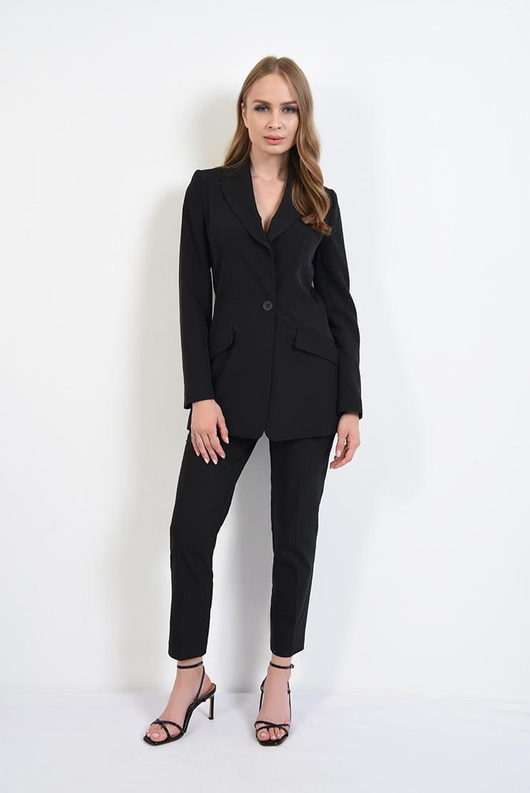 Deux-pieces negru cu pantaloni tigareta