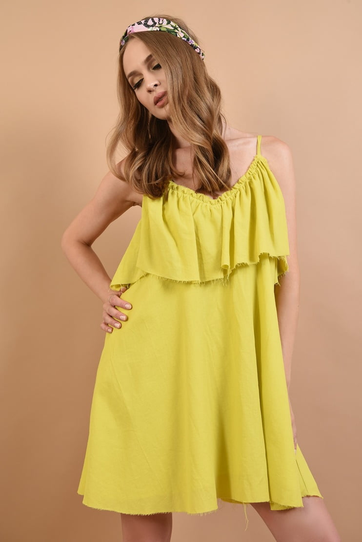 Rochie baby doll din bumbac lime