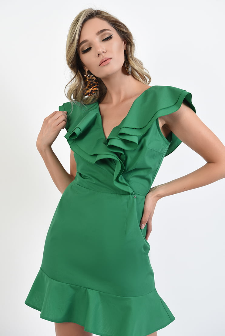 Rochie verde din poplin cu volane