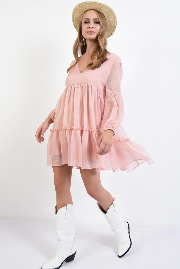 Rochie roz pastel cu snur la spate