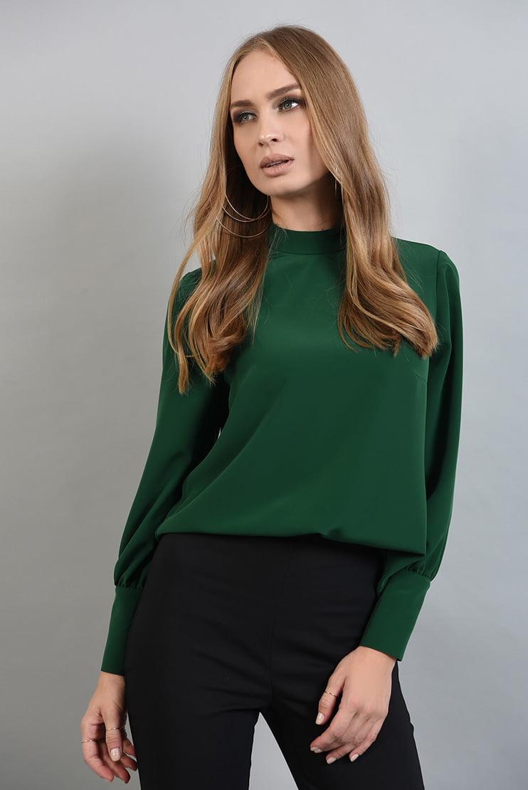 Bluza basic verde cu guler