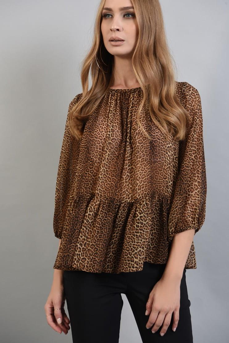Bluza din voal cu print leopard