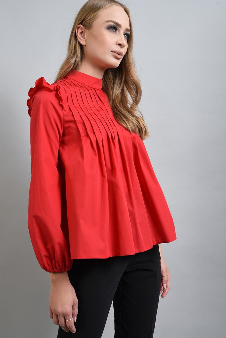 Bluza rosie cu pliuri decorative