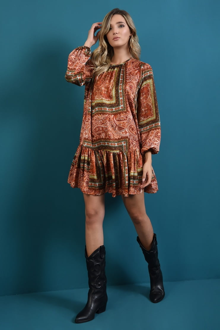 Rochie din satin cu print abstract