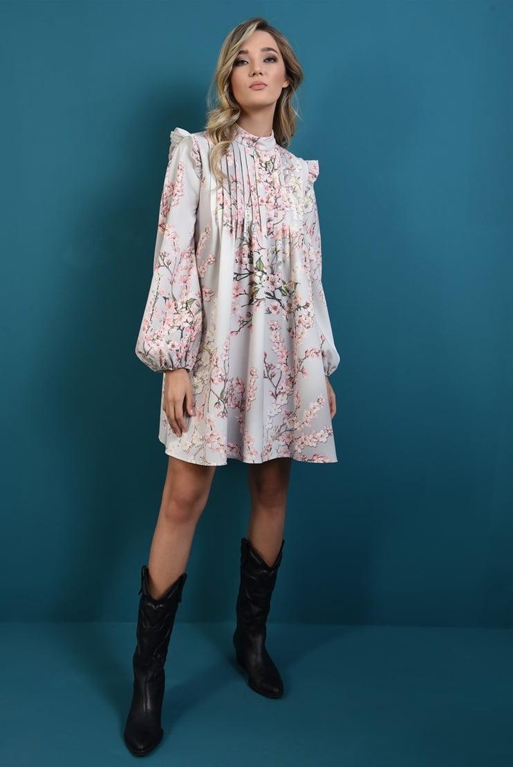 Rochie imprimata cu pliuri decorative