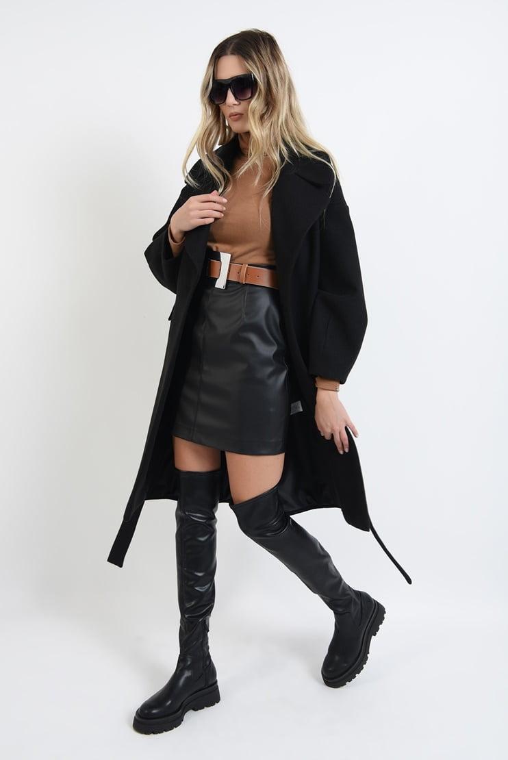 Palton negru midi cu cordon