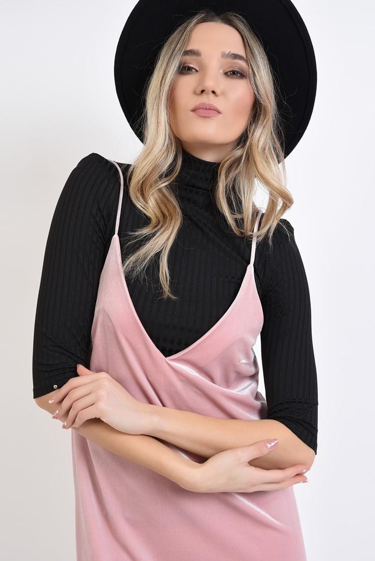 Rochie roz zi maleta neagra