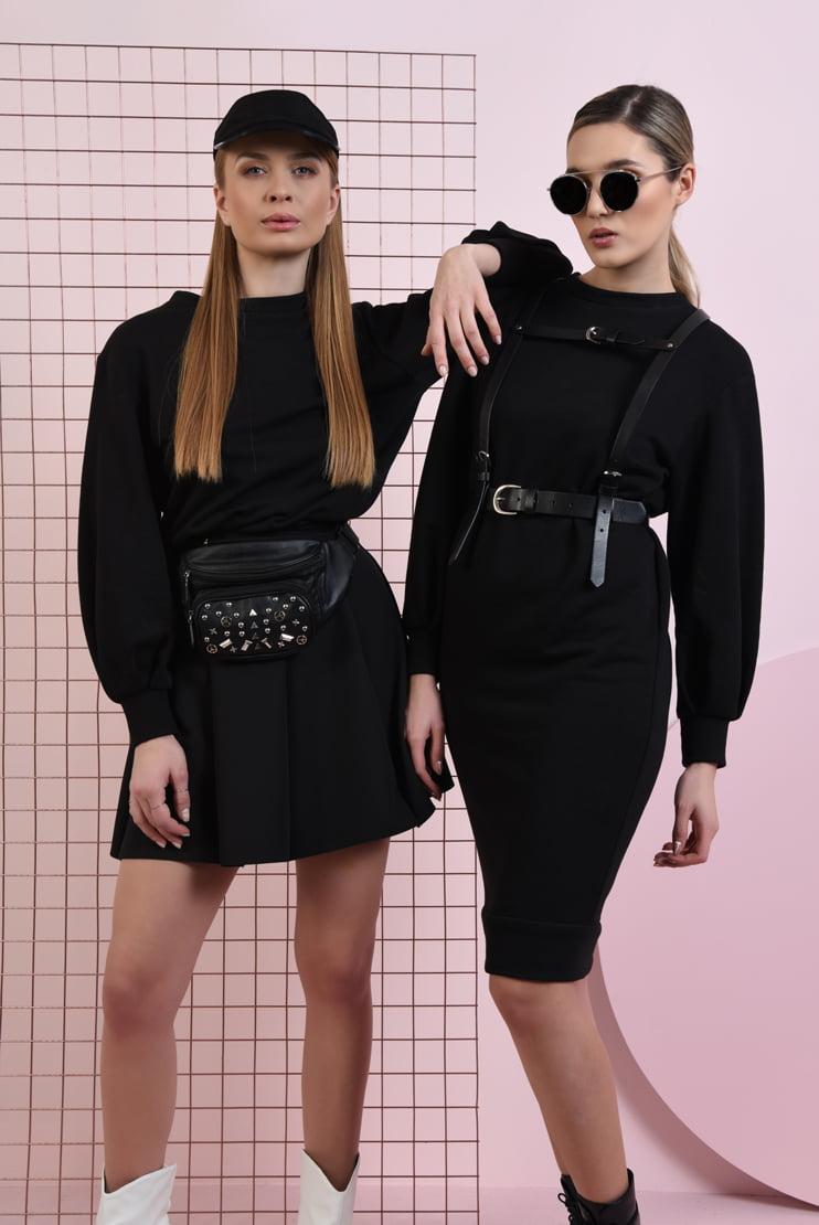 Fusta neagra si rochie cu decupaj la spate