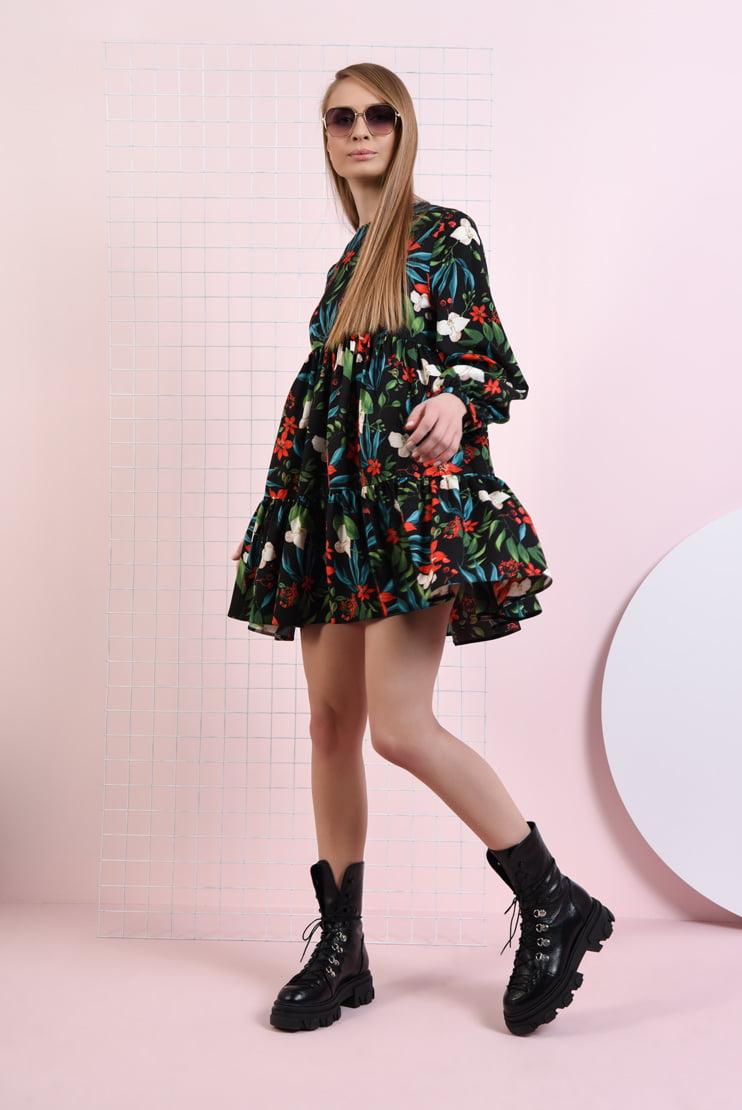 Rochie babydoll cu imprimeu floral
