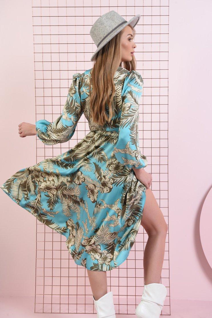 Rochie bleu cu imprimeu botanic