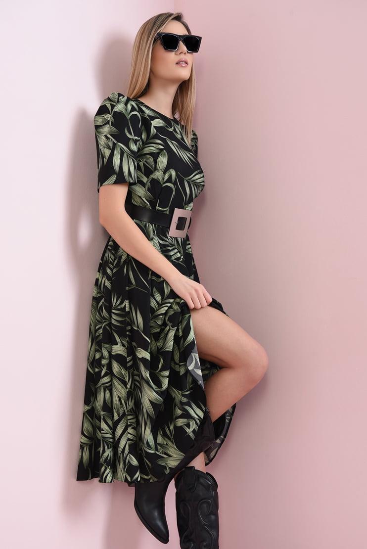 Rochie de zi cu print botanic