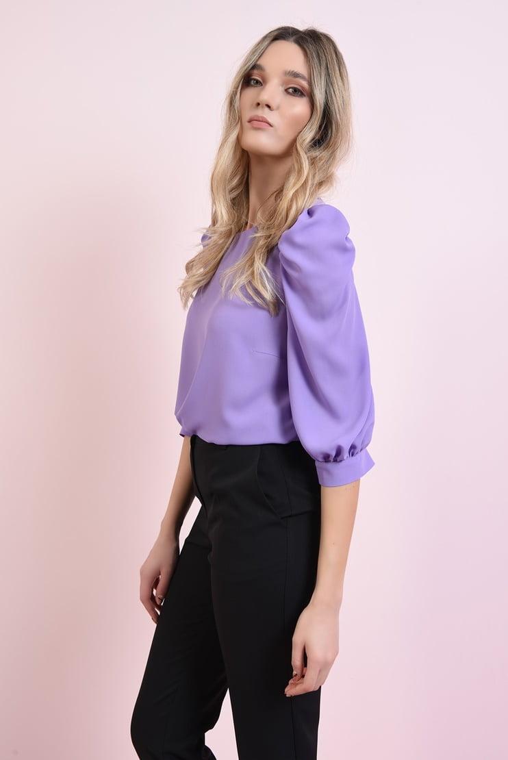 Bluza lila cu cret la umar