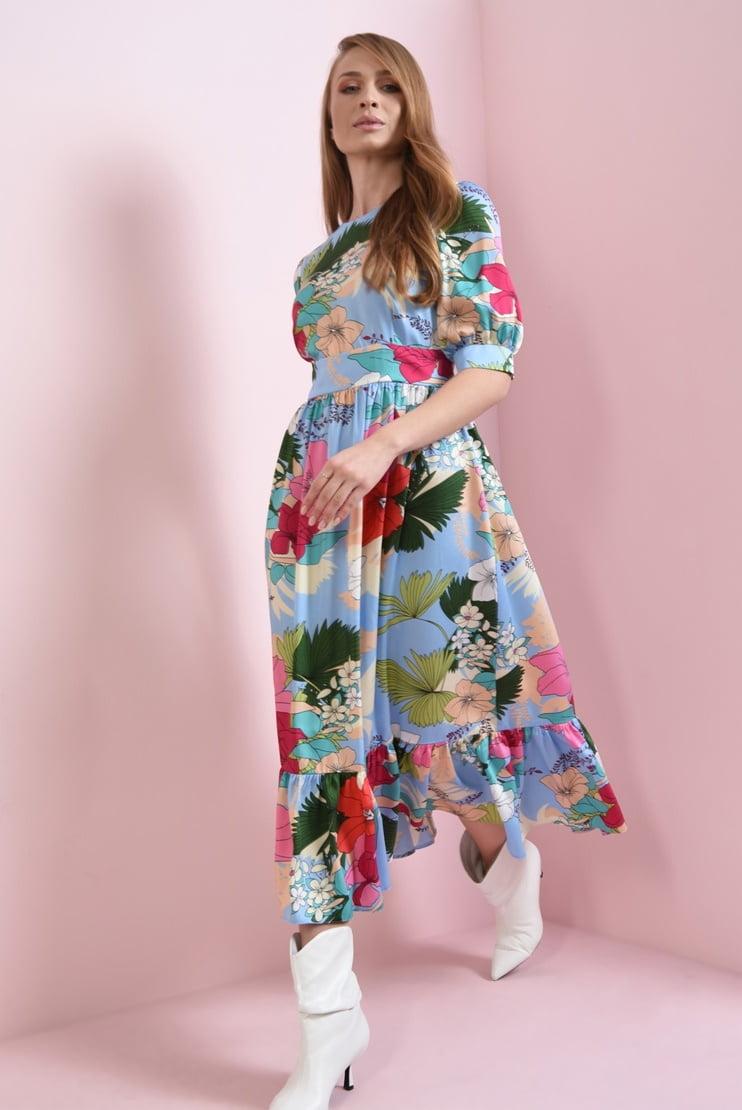 Rochie de primavara cu imprimeu multicolor