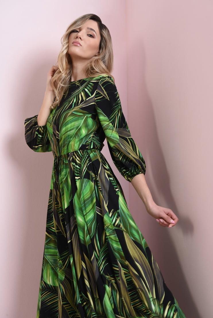 Rochie de zi cu print frunze