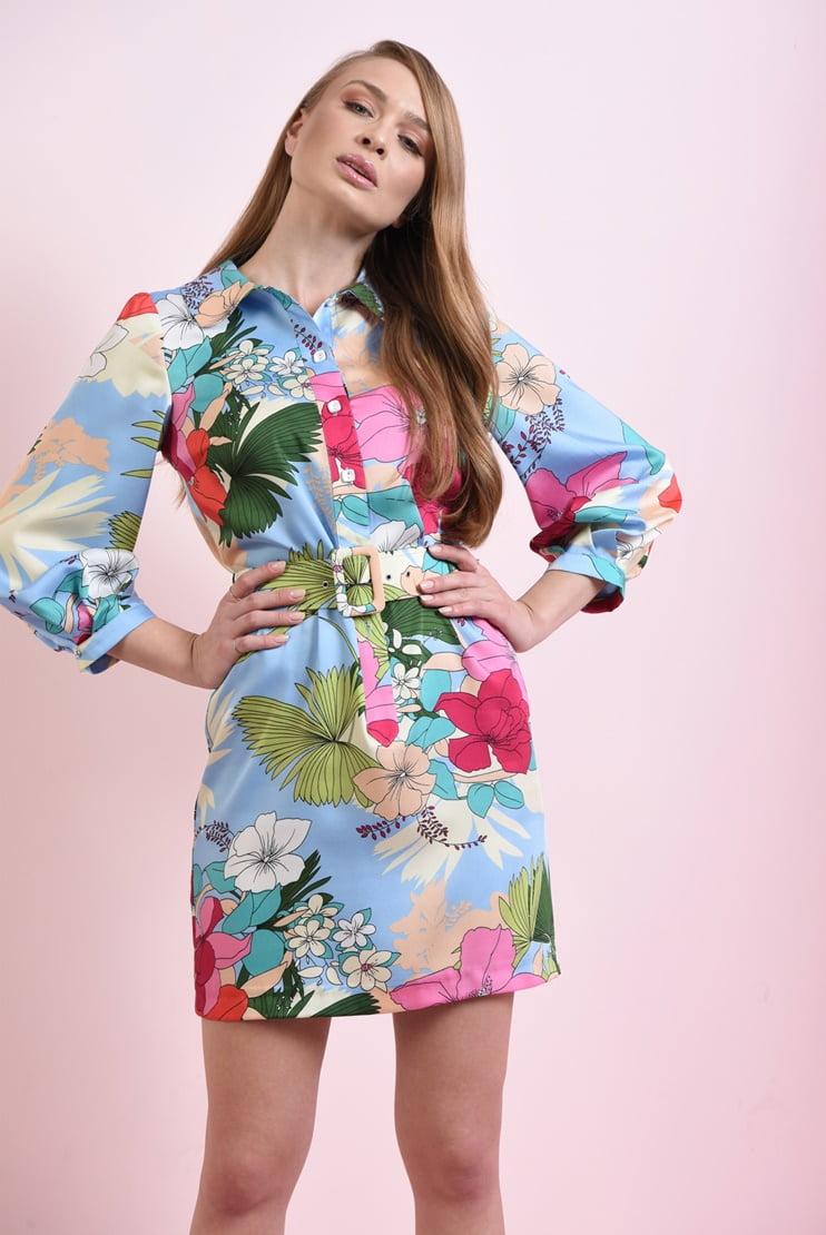 Rochie mini cu flori si curea