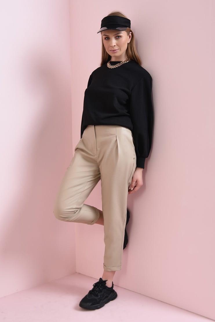 Pantaloni conici bej cu talie inalta