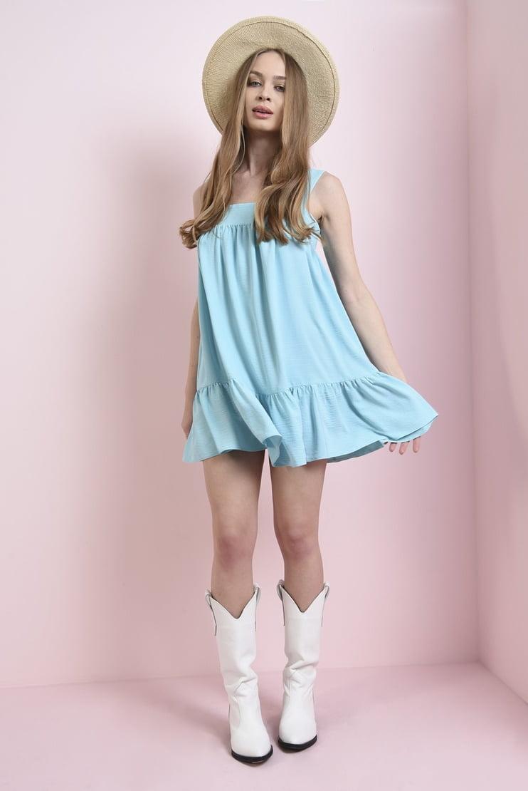 Rochie bleu cu decolteu geometric