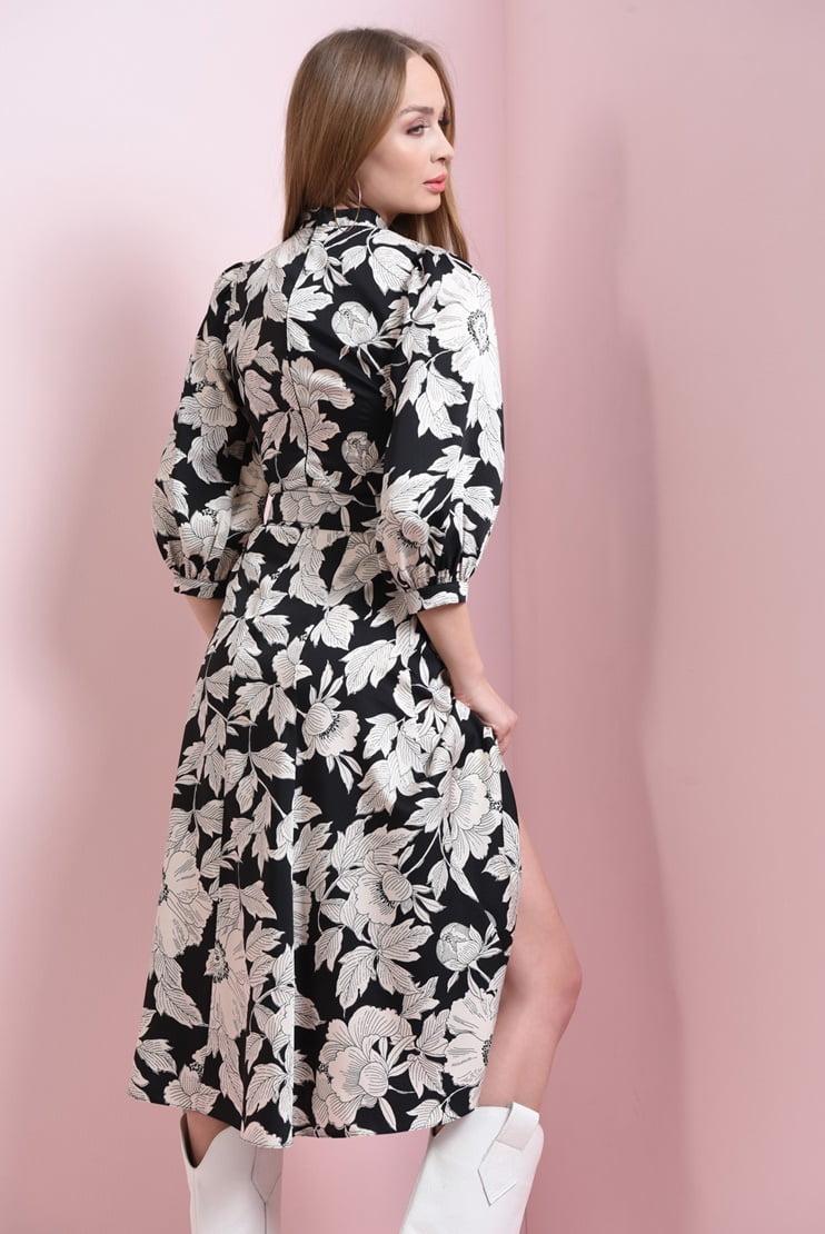 Rochie cu flori si centura asortata