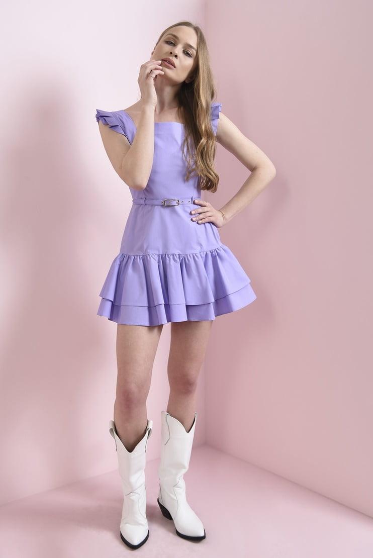 Rochie lila cu volane si curea