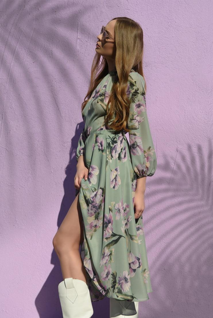 Rochie midi cu print floral