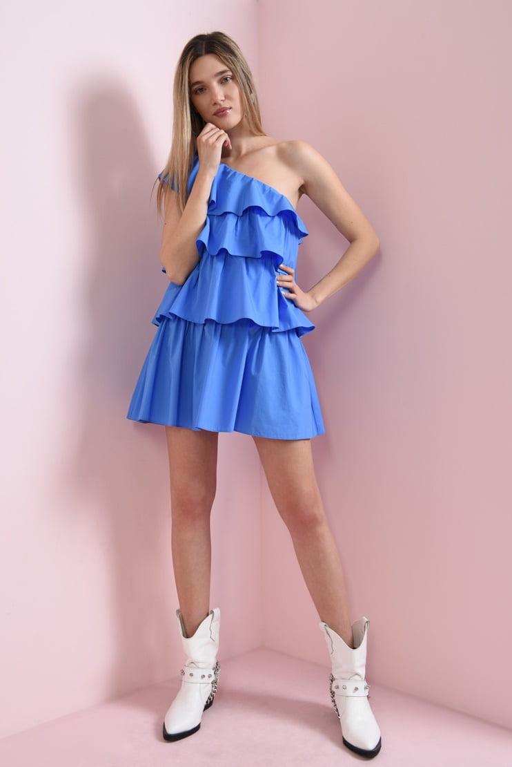 Rochie albastra din bumbac cu volane