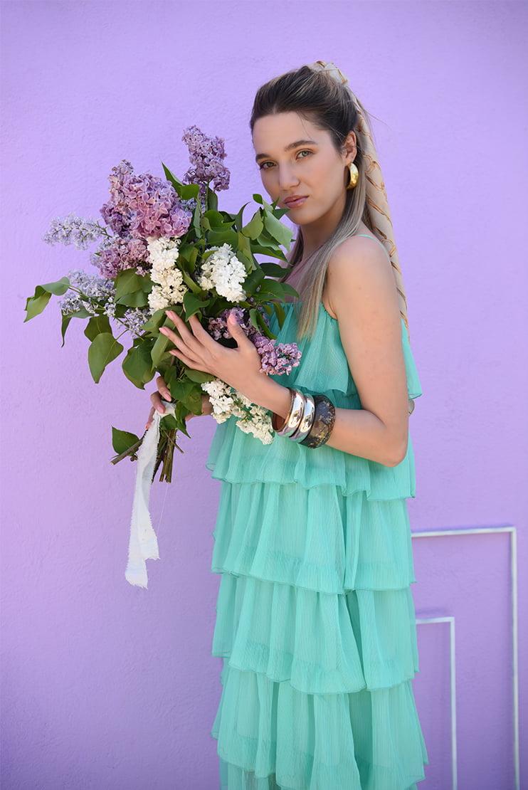 Rochie verde de vara cu volane