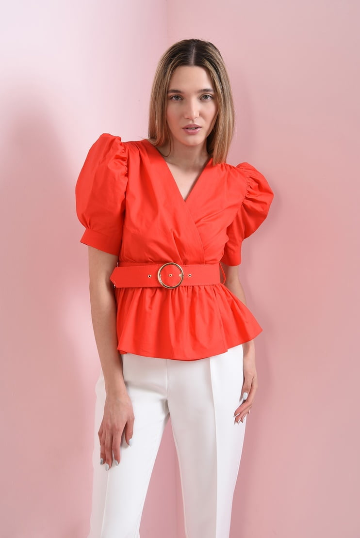 Bluza rosie cu peplum si curea