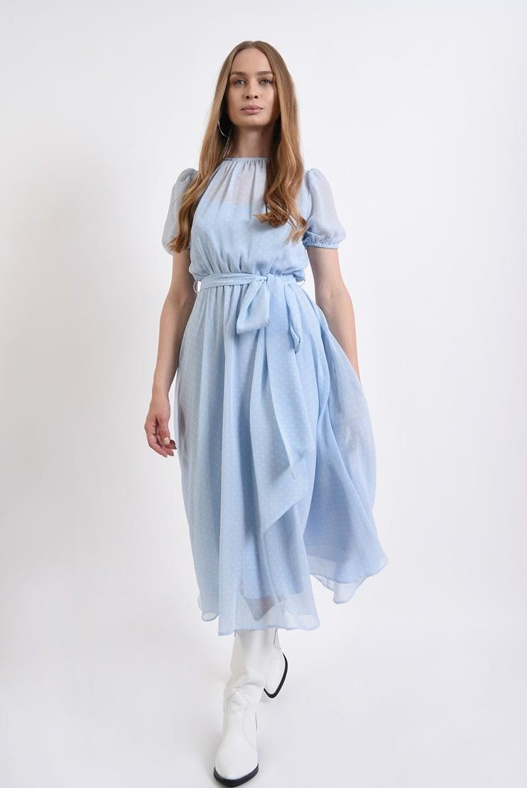 Rochie clos bleu cu buline albe