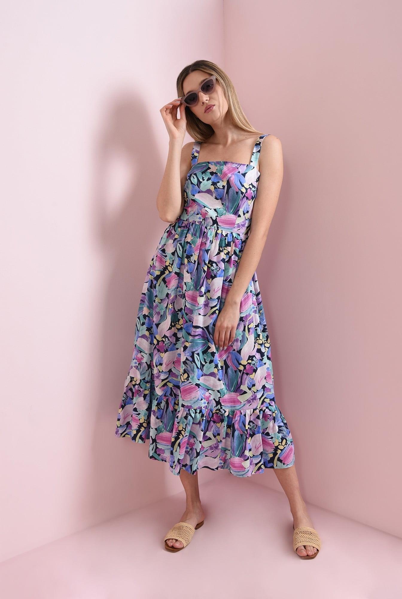 Rochie de vara cu bretele si print multicolor