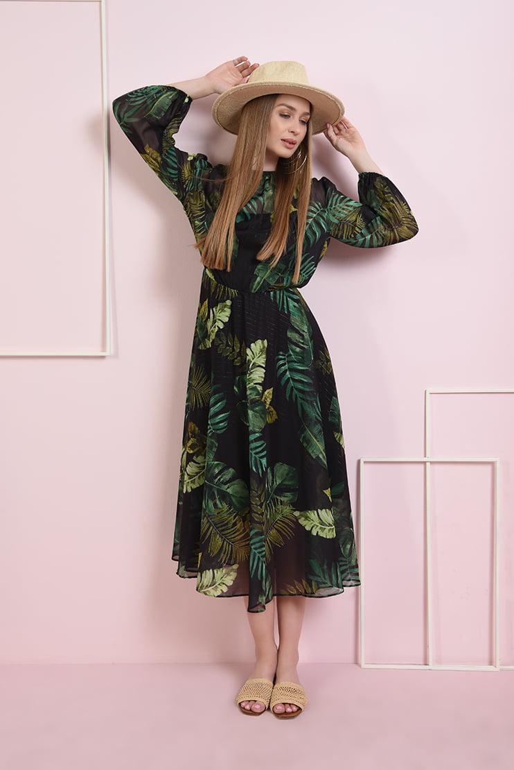 Rochie din sifon cu frunze
